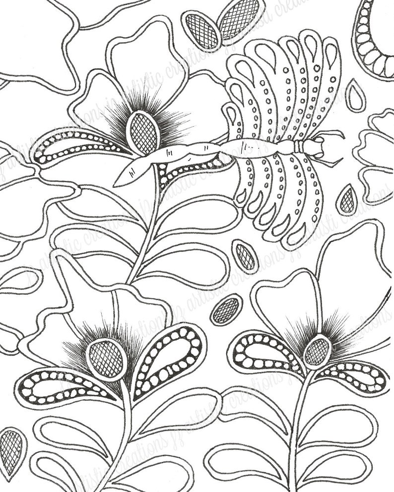 Adult Coloring Pages Coloring Page Floral Art Botanical Art Etsy