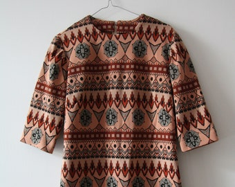 Vintage 70s pattern shift dress mini Dress size 38