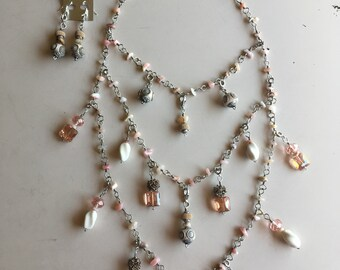 Handmade 10 in one 30 1/2 inch necklace set
