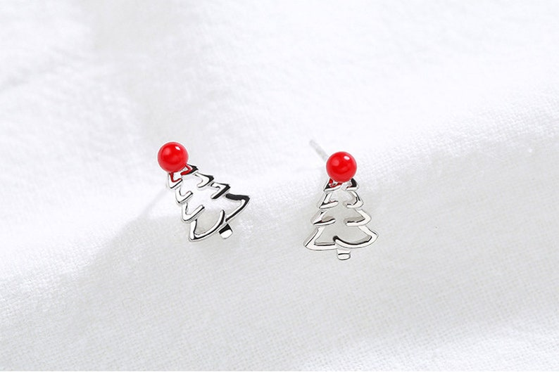Christmas Gift Christmas Tree Earrings Santa Claus Cute Christmas stocking earrings Red mini christmas Red hat jewelry Sterling silver