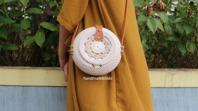 Bohemian Bag Straw Bag SALE Bali Braid Round Rattan Bag Boho Style Summer Autumn Round Crossbody Bag Women Handmade Woven Straw Bag