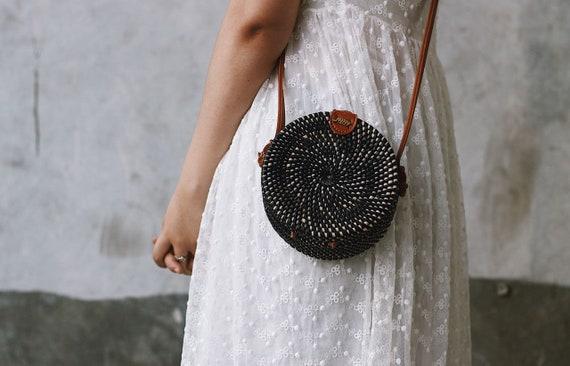 SALE Bali Round Rattan Bag Summer Crossbody Straw Bag Women Handmade Woven Straw Bag Boho Bohemian Bag Black, Small Diameter 15 cm