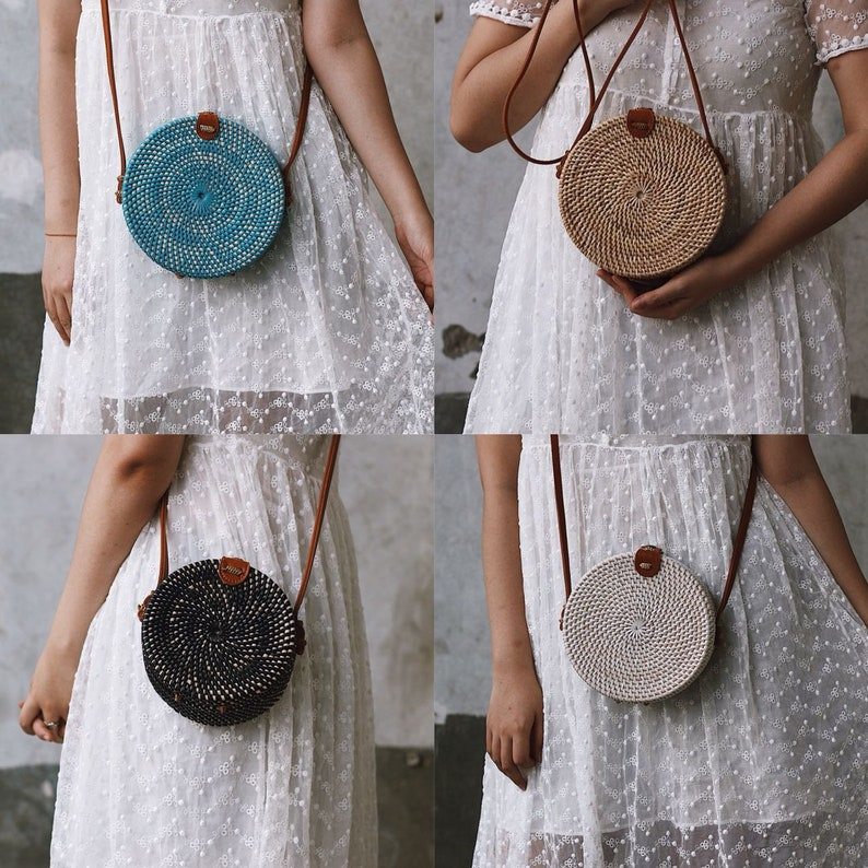 SALE Bali Round Rattan Bag Autumn Crossbody Straw Bag Boho  9ed8a0280ad7a
