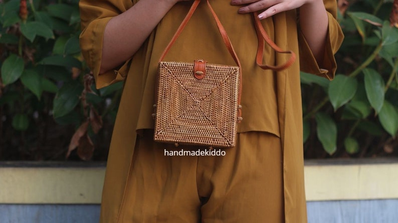 SALE Bali Square Rattan Bag Handwoven Ata Grass Straw Bag  bd8740a9a9429
