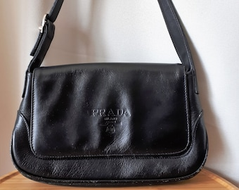 Vintage Prada Milano Italian Leather Bag Handbag Purse