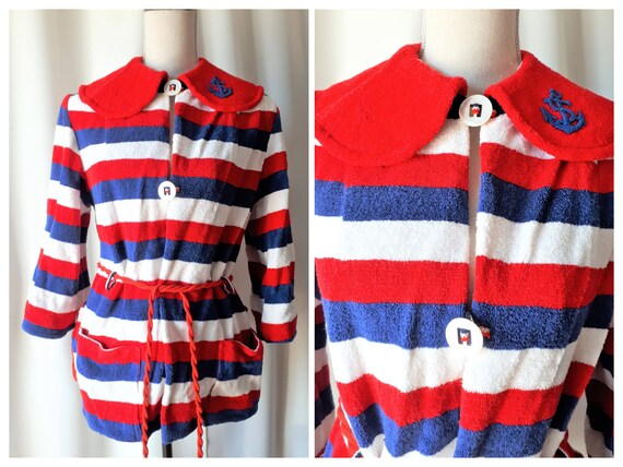 Vintage 1960s Short Terry Robe Size Large