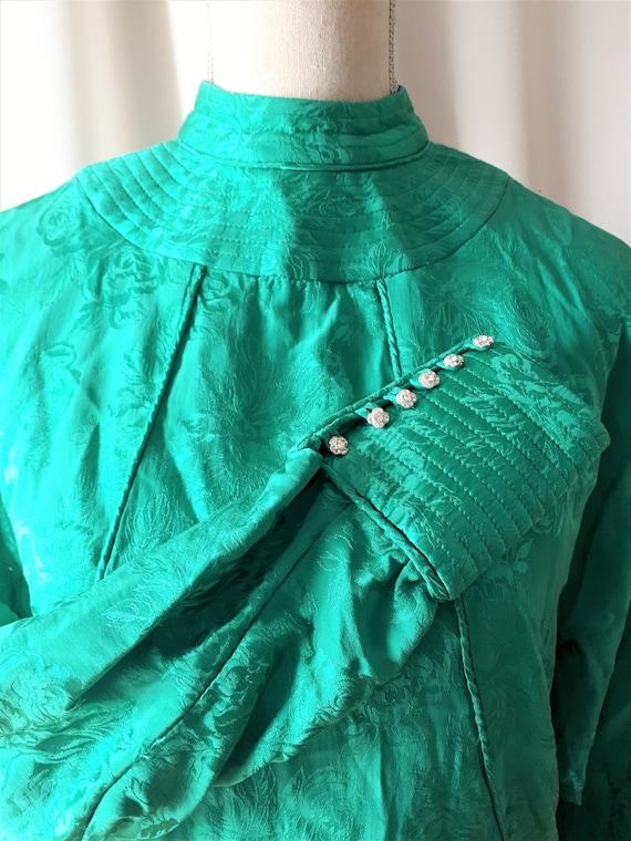 Vintage 1980s High Neck Dolman Sleeve Dress Size … - image 3