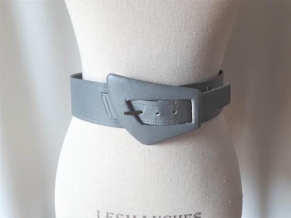 Vintage 1980s Carol Van Wyck Wide Grey Leather Bel