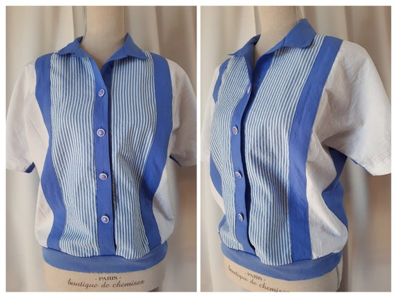 Vintage 1980s Blue Striped Polyester Top Size Smal