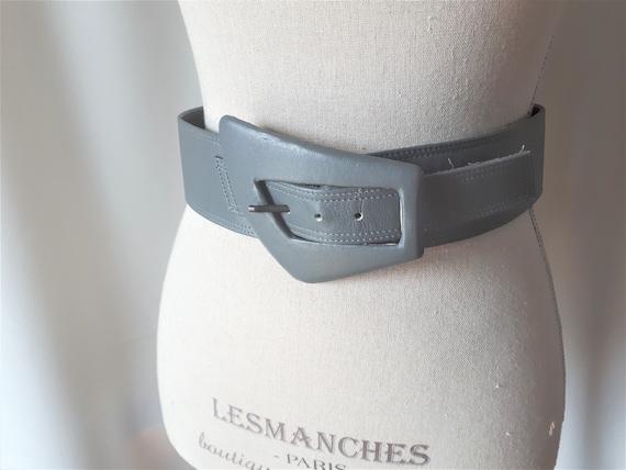 Vintage 1980s Carol Van Wyck Wide Grey Leather Be… - image 2