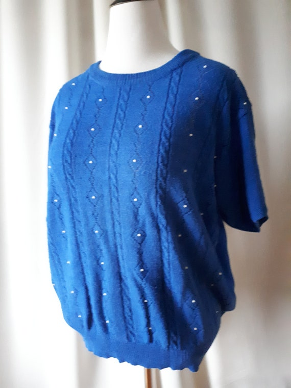 Vintage 1980s Tan Jay Beaded Sweater Plus Size 1X