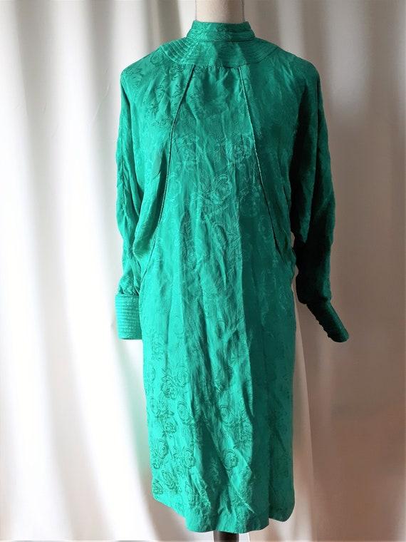 Vintage 1980s High Neck Dolman Sleeve Dress Size … - image 10