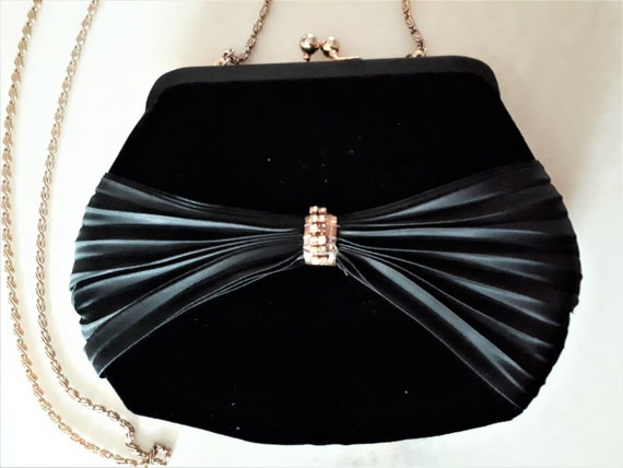 Vintage 1980s Black Velvet Evening Bag Hong Kong