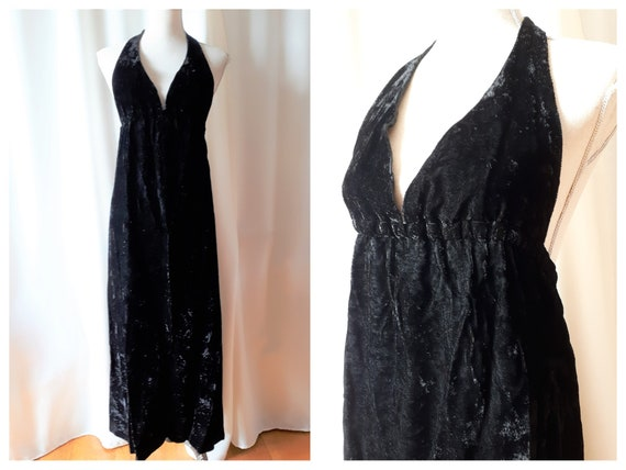 Vintage 1970s Halter Neck Velvet Maxi Dress Size S