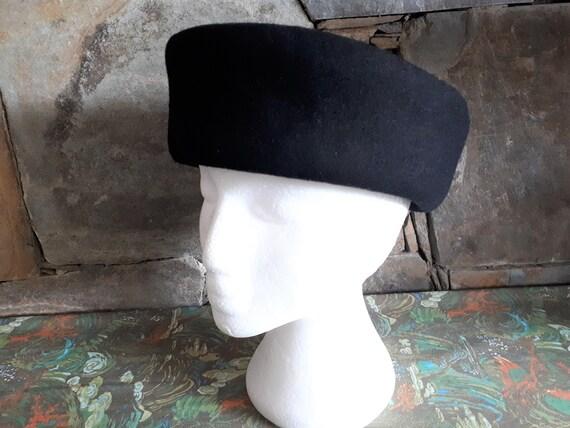 Vintage 1980s Kates Boutique Black Felt Hat