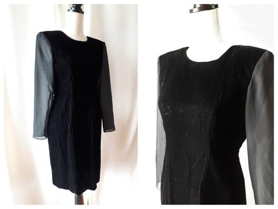 Vintage 1980s Low Back Back Velvet Dress Size 10