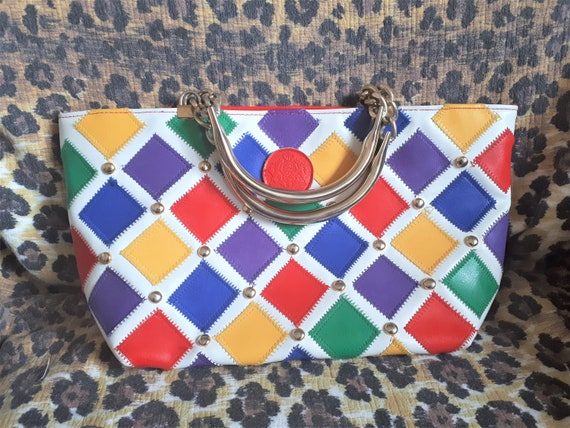 Vintage 1990s Colorful Top Handle Handbag