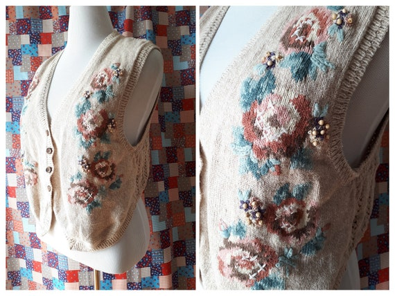 Vintage 1980s Jantzen Embroidered Sweater Vest Siz