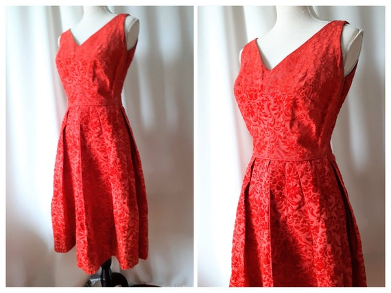 Vintage 1950s Maggi Stover Flocked Velvet Dress Si