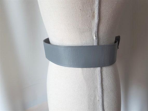 Vintage 1980s Carol Van Wyck Wide Grey Leather Be… - image 3