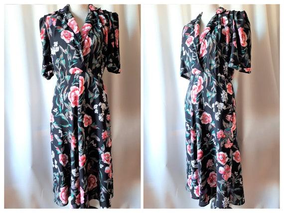 Vintage 1980s Floral Polyester Midi Dress Size Med