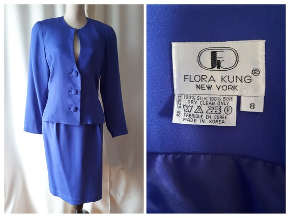 Vintage 1990s Flora Kung New York Blue Silk Suit S