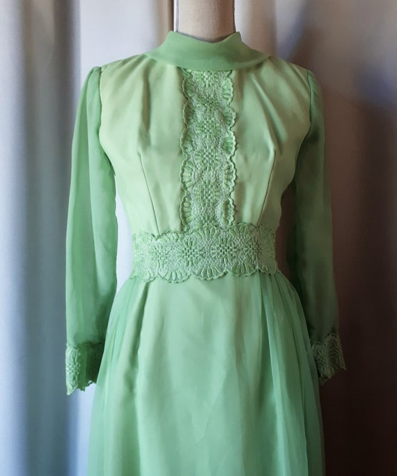 Vintage 1960s Green Chiffon Maxi Dress Sz Medium