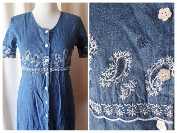 Vintage 1990s Embroidered Denim Midi Dress Size Me
