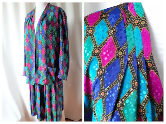 Vintage 1980s Tan Jay Jewel Tone Skirt And Blazer