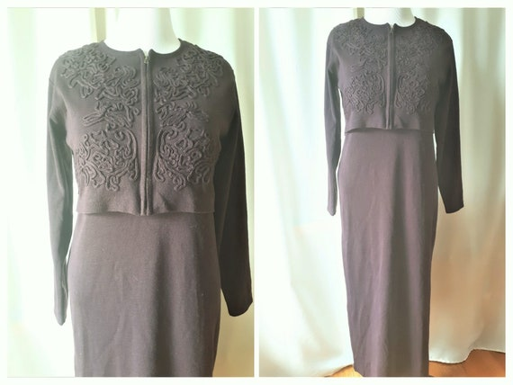 Vintage 1990s Carole Little Wool Blend Maxi Dress