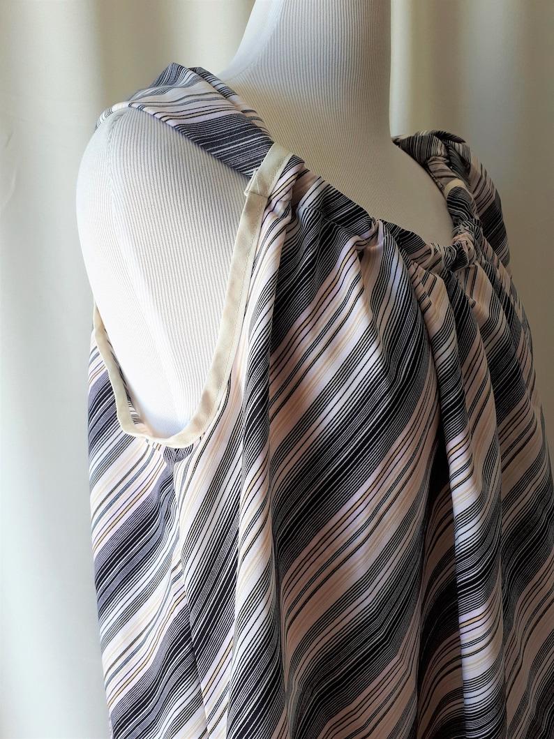 Handmade Diagonal Stripe Tie Blouse Size XXL