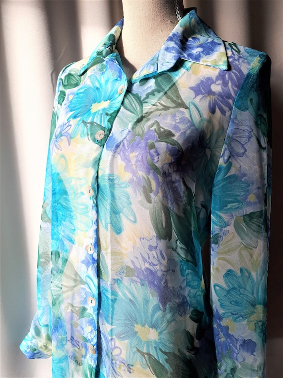 Vintage 1970s Michael Phillips Sheer Floral Tunic