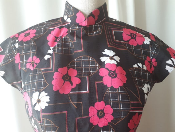 Vintage 1970s Cheongsam Polyester Dress Size Small