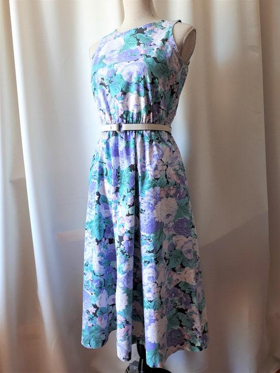 Vintage 1980s Cotton Sleeveless Dress Size Small