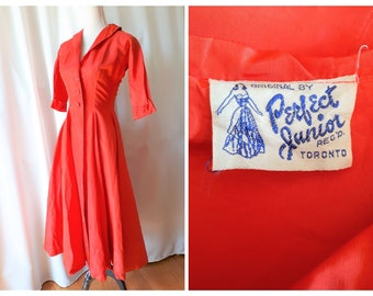 Vintage 1950s Perfect Junior Long Red Taffeta Jacket Size XS