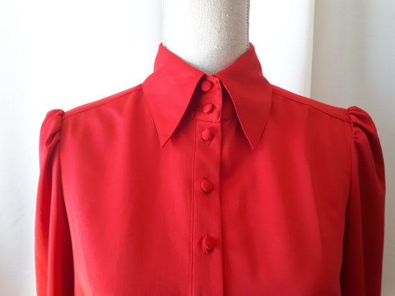 Vintage 1970s Nygard Red Puff Sleeve Blouse Size 1