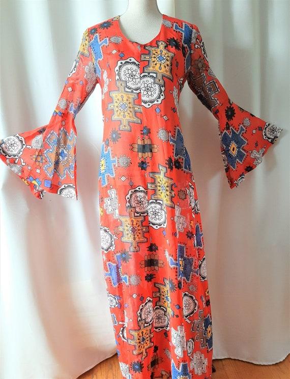 Vintage 1970s Cotton Maxi Dress Size Small