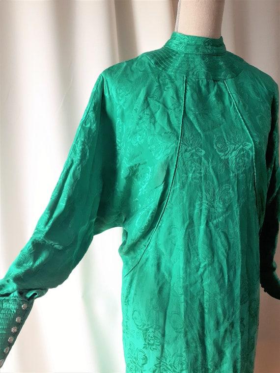 Vintage 1980s High Neck Dolman Sleeve Dress Size … - image 6