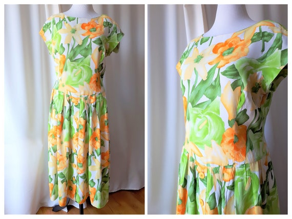 Vintage 1980s Floral Dropped Waist Midi Dress Size