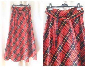 Vintage 1970s Wool Blend Plaid Maxi Skirt Size Large