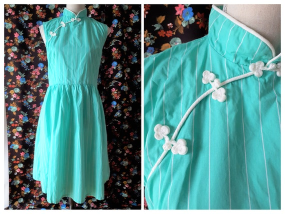 Vintage 1980s Green Striped Dress Size Medium