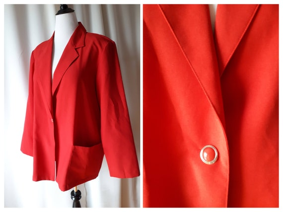 Vintage 1980s Tradition Red Plus Size Blazer Size