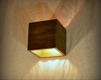Wood Wall Sconce, Wall Lamp. Wooden Lamp. Sconce. Wall Light. Minimalist  Lamp. Interior Decoration. Wood Decor. Cube. Wood Sconce