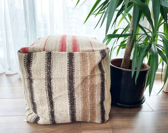 "Handmade Vintage Pouf Anatolian Decorative Natural Wool Ecofriendly Kilim Pouf 18""x18""x18"" No ID1034"