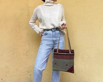 Handmade Bag, Kilim Bag, Vintage Bag, Tote Bag, Boho Tote Bag, Shoulder Bag, Leather Bag No743