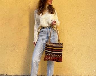 Handmade Bag, Kilim Bag, Vintage Bag, Tote Bag, Boho Tote Bag, Shoulder Bag, Leather Bag No732