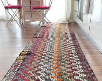 "8'10"" x 30"" Handmade Vintage Anatolian Turkish Boho, Eclectic Kilim Runner Area Rug No797"