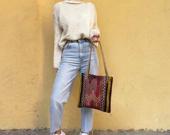 Handmade Bag, Kilim Bag, Vintage Bag, Tote Bag, Boho Tote Bag, Shoulder Bag, Leather Bag No735