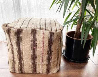 "Handmade Vintage Pouf Anatolian Decorative Natural Wool Ecofriendly Kilim Pouf 18""x18""x18"" No ID1035"