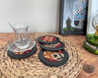 Turkish kilim leather coasters, kilim coasters, vintage kilim coasters, handmade kilim leather coaster No45